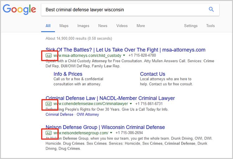Campaña de Google Adwords para abogados en México