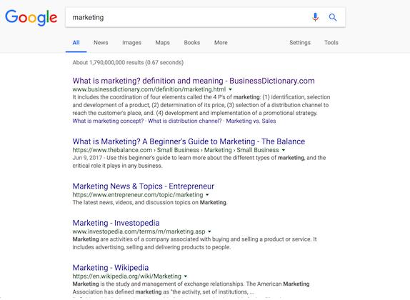 Campaña de SEO - Google Primera Página de resultados