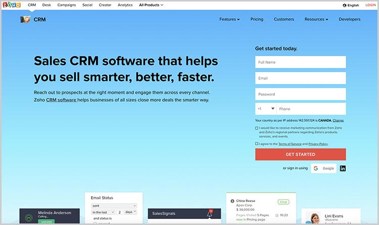 Configure una solución CRM - Zoho.com